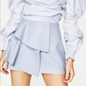 Zara Blue Faux Leather Skirt NWT.